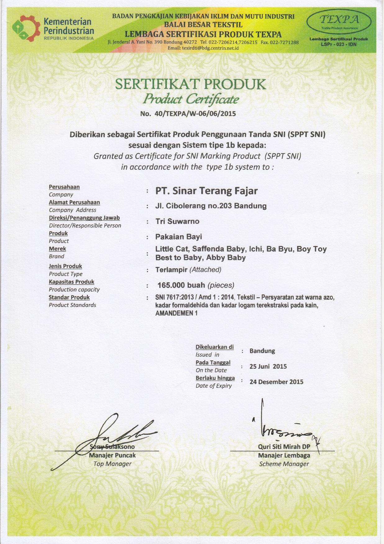 sertifikat sni 3